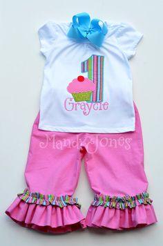 Girls Custom Cupcake Birthday Set with Double Ruffle Pants via Etsy