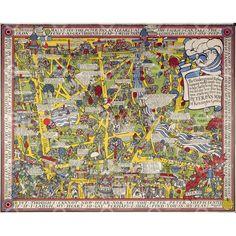 Peter Pan map of Kensington Gardens - MacDonald Gill (1923) via the London Transport Museum