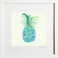 Blue Pineapple Print by Helen Magee Hairy Fruit Art Pineapple Print, Framed Prints, Art Prints, Fruit Art, Pigment Ink, Colour Schemes, Watercolor Paper, Wooden Frames, All The Colors