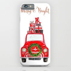 Red Christmas Car - white  iPhone & iPod Case