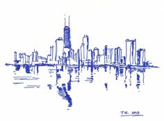 Marker Portraits Print Chicago  8 in x11 by HousePortraitsByTina