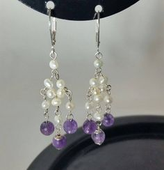 Feshwater pearl and genuine amewthyst chandelier by ILoveBeads247