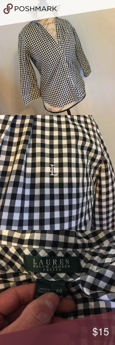 Ladies gingham button up NWOT... petite small 3/4 sleeve button up ... super cute ... never worn Ralph Lauren Tops Button Down Shirts