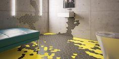 Schwarze Fliesen gelbe Fugen von Agrob Buchtal - fresHouse