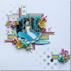 Carta Bella Cool Summer by Susan Longman - Absolutely Beautiful Layout !  Great design - Simple yet wonderfully embellished with flowers, chipboard, doily, buttons, bling, stamping/misting. Love the photo.  Wendy Schultx via Annas Craft Cupboard onto Scrapbook Pages 1.