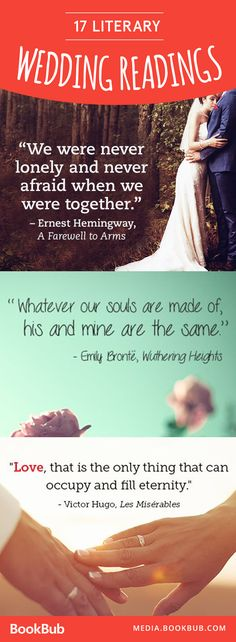 These wedding reading ideas from literature would make for a romantic and unique ceremony! We love the idea of incorporating some of our favorite quotes from books.