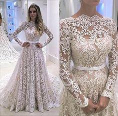 Long Sleeve Prom Dress,Lace Prom Dress,Fashion Bridal Dress,Sexy Party Dress,Custom Made Evening Dress