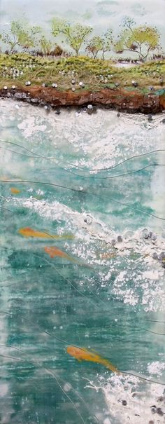 Procession #4, Robin Luciano Beaty, encaustic and mixed-media, 8 inches by 20 inches, ready to hang by iva
