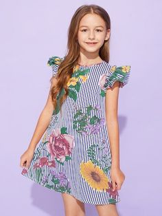 To find out about the Girls Ruffle Armhole Mixed Print Dress at SHEIN, part of our latest Girls Dresses ready to shop online today! Striped Tee, Striped Dress, Cute Dresses, Girls Dresses, Tee Dress, Dress Girl, Striped Fabrics, Floral Stripe, Mixing Prints