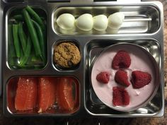 yogurt with raspberries, pink grapefruit, green beans, quail egg kebab, mini oatmeal chocolate chip cookie. http://lalalunchbox.com/school-lunches-with-dairy/