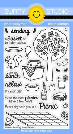 Sunny Studio SUMMER PICNIC Clear Stamp Set SSCL131 zoom image