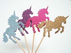 Set of 24Pcs - Glitter MIX Double Sided 'Unicorn' Party Picks - Birthday, Baby Showers, Weddings, Food Party Picks by ellen084 on Etsy https://www.etsy.com/listing/245882552/set-of-24pcs-glitter-mix-double-sided