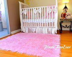 "48"" x 58"" Pink Mongolian Plush Faux Fur Nursery Rectangle Area Rug Sheep"