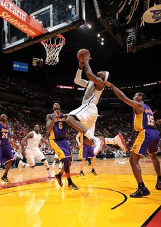 FEBRUARY 10: LeBron James #6 of the Miami Heat goes to the basket