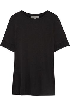 MICHAEL Michael Kors | Pleated chiffon-trimmed stretch-jersey T-shirt | NET-A-PORTER.COM