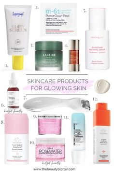 MY FAVORITE SKINCARE PRODUCTS FOR GLOWING SKIN   The Beauty Blotter The Ordinary Peeling Solution, Peach And Lily, Best Skincare Products, Hydrating Mask, Derma Roller, Even Skin Tone, Skin Brightening, Glowing Skin, Skin Care