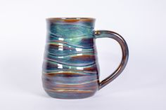 Wave Texture Forest Green Handmade Pottery Mug by TurtleRokPottery on Etsy Stoneware Mugs, Ceramic Cups, Pottery Mugs, Pottery Ideas, Pottery Designs, The Potter's Wheel, Wave Design, Handmade Pottery, Green And Brown