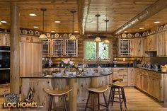 Log Home By, Golden Eagle Log Homes – Kitchen Area – Custom Double Eagle – Hazir Site Log Home Kitchens, Dream Kitchens, Log Home Living, Log Home Plans, House Plans, Modern Home Furniture, Log Cabin Homes, Log Cabins, Timber House