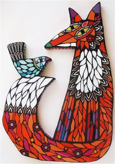 Fox and Blue Bird - Amanda Anderson Mosaics Glass Wall Art, Stained Glass Art, Mosaic Glass, Cute Wall Decor, Unique Wall Decor, Diy Wall, Mosaic Crafts, Mosaic Projects, Mosaic Ideas