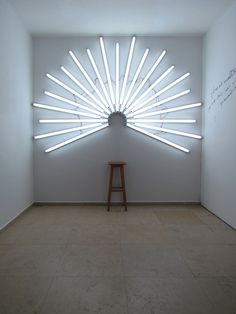"""""""You Are a Saint"""" (An infrastructure for self photo-shooting as a saint) by Yochai Matos (2011, Fluorescent light installation,185 x 270 cm (73 x 106 inch))"""