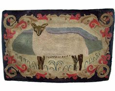 Sheep Rug, Frost Design, wool on burlap, 23 ¼ x 38 ¾ inches, Private Collection.