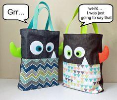 Monster Tote Bag Preschool Bag Beach Bag Halloween by Hugabugkids