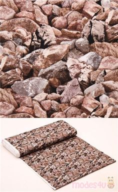 rock rubble fabric from the USA with packed stones in shades of grey and brown, by Elizabeth's Studio, collection: Landscape Medley #Cotton #Rocks #Stones