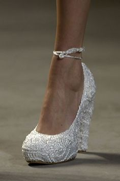 Bridal Wedges. Ahh, Id wear these ALL night.