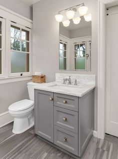 Modern Farmhouse, Rustic Modern, Classic, light and airy bathroom design some ideas. Bathroom makeover suggestions and master bathroom remodel suggestions. Small Bathroom Vanities, Bathroom Renos, Dyi Bathroom, Bathroom Mirrors, Budget Bathroom, Simple Bathroom, Bathroom Faucets, Minimal Bathroom, Small Grey Bathrooms