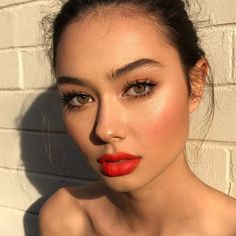 Yesterday at golden hour: So lucky to have a face like @bhollitt 's to be able to play with new products on whenever I want  Bridget is wearing the @armanibeauty Lip Maestro Notorious lipstick in shade 301. #armanibeauty #collab