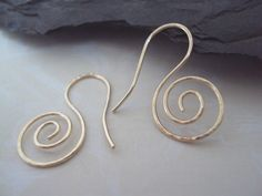 Hand Hammered Gold Swirl Earrings Hand Forged by ElementsbyJulie, $20.00