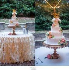Cakes by Kim // custom bakery // specializes in wedding cakes and dessert tables. // gold wedding cake stand by Opulent Treasures
