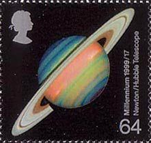 British Stamp 1999 - 64p, Saturn (development of astronomical telescopes) from Millennium Series. The Scientists' Tale (1999)