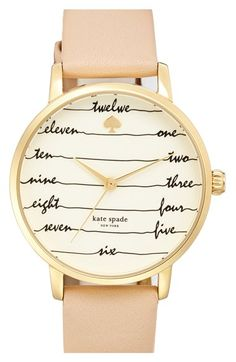kate spade new york 'metro - chalkboard' leather strap watch, 34mm available at #Nordstrom