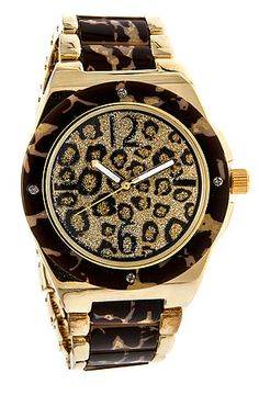 The On Leopard Time Watch in Gold by *MKL Accessories . . This watch is so SEXY!