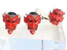 Vintage Articulating Moveable Mouth Enamel Satyr Devil Enamel Cuff Link Set  #devilcufflinkset