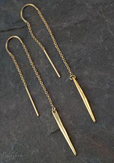 Gold Ear Thread Earrings Ear Threader Earrings от delezhen