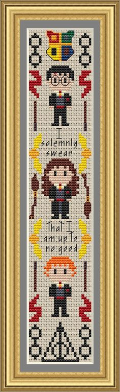 I solemnly swear that I am up to no good! Celebrate Harry Potter (and the new movie this Fall!!) with this cross stitch bookmark pattern. The pattern includes small versions of Harrys glasses, Harrys scar, a wand, the golden snitch, a Nimbus 2000, the Hogwarts crest, the sign of the Deathly Hallows, Harry Potter, Hermione, Ron Weasley, and a quote from the books.   Pattern purchase includes: - a PDF pattern, black and white symbols with DMC colors chart - a PDF pattern, symbols over colors…