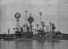 A bunch of windmills at the 1893 Chicago World Fair.