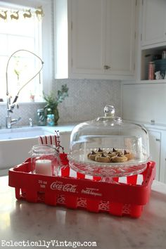 coca cola kitchen decor | Vintage Coke crate and Christmas kitchen tour eclecticallyvintage.com