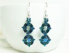 Sapphire Crystal and Dark Metallic Bugle Bead Handcrafted Earrings  $13.50 @kerisKrystals #bonanza store #jewelry