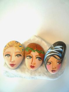 Original art work, figurative art, acrylic on… Painted Rocks Craft, Hand Painted Rocks, Painted Stones, Stone Crafts, Rock Crafts, Rock Sculpture, Sculptures, Rock And Pebbles, We Will Rock You