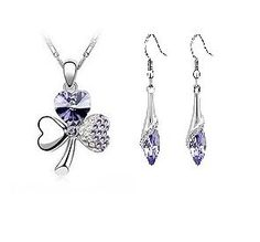 White Gold Purple Crystal Rhinestone Clover Necklace and Earring Set (£5.99)