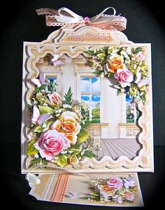 Card Gallery - Triangular Base Kit Roses and Butterflies