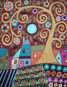 Folksy Village by Karla Gerard - Folksy Village Painting - Folksy Village Fine Art Prints and Posters for Sale