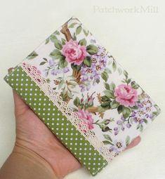 c2d51f7b2d0 Fabric Journal Cover - Dotty Roses - Handmade A6 Notebook