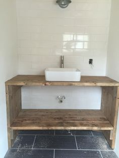 Homemade Vanity from 2x6 boards More DIY Open Shelf With Free Plans  shelves Diy vanity and