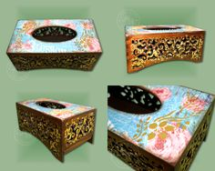The tissue box cover decorated with decoupage, golden flakes and ornaments.