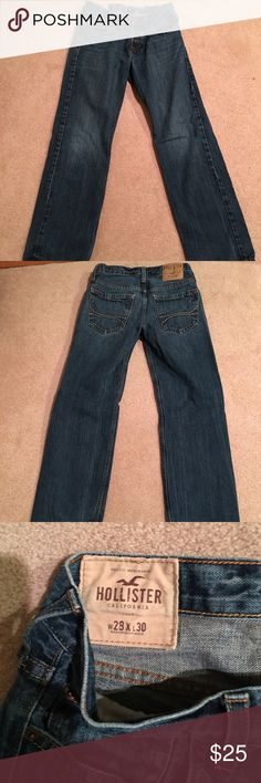 Hollister boys jeans in size 28x30. Great condition. Little fraying at the bottom as seen in picture 4. Non-smoking home. Hollister Jeans Relaxed