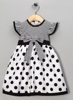 Take a look at this Black Polka Dot Stripe Dress - Toddler & Girls by Maggie Peggy on today! by bernadette Toddler Girl Dresses, Little Girl Dresses, Toddler Outfits, Kids Outfits, Girls Dresses, Toddler Girls, Baby Dresses, 50s Dresses, Dress Girl